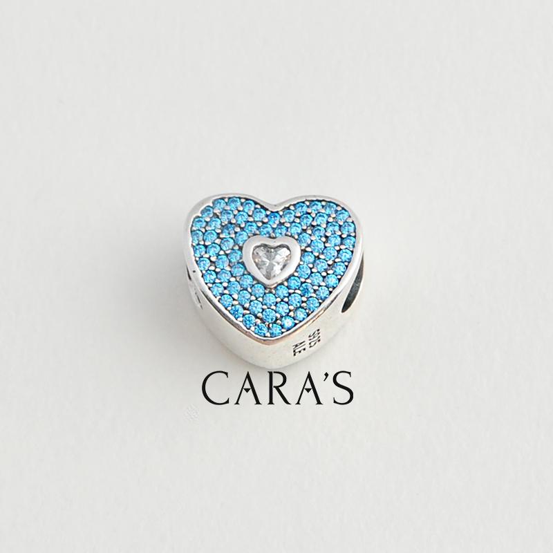 Charm trái tim one love xanh lơ