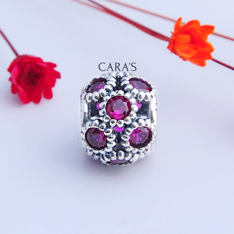Charm bạc hoa văn tím hồng